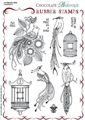 Chocolate Baroque As Free as a Bird Rubber Stamp